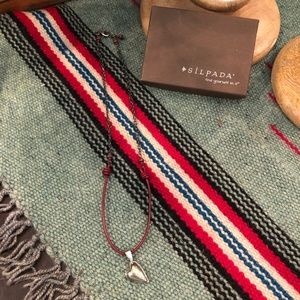 Silpada Oxidized Silver & Leather Heart Necklace